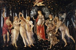 Stampe giclee di belle arti online-Primavera di Sandro Botticelli Giclée Fine Art Canvas Print Home Wall Art Decor Pittura a olio su tela Wall Art Canvas Pictures 190901