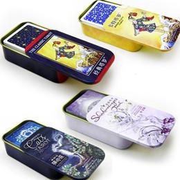jogos de tabuleiro de família Desconto 6 tipos Opção jogo Metal Board Box Tarô 78 PCS / Set encaixotado Jogando Card Game Board Tarot para a família / amigos T191006