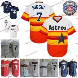 Трикотажные изделия хьюстон онлайн-2015 Винтаж Зал славы Craig Biggio Houston бейсбола Mens Радуга Astro Оранжевый Белый Синий пуловер Сшитые рубашки M-XXXL