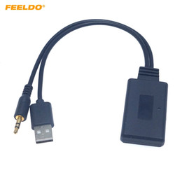 bmw aux cable Desconto Feeldo Car 12V Áudio Sem Fio Bluetooth Módulo USB 3.5mm Socket Music Adaptador Aux para BMW E90 E91 E92 E93 Bluetooth Receptor AUX Cable # 6277