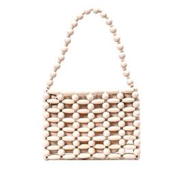 2019 tisser un sac perlé Main sac fourre-tout perlé petit sac à main femme sac de plage femme épaule sacs à main en bambou tissés et sacs à main été 2019 tisser un sac perlé pas cher