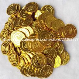 2019 monete d'oro di plastica 50 / 100pcs pirati monete d'oro di plastica Gioco Coin Per 6z Kid partito Prop Gold Treasure Monete Halloween Party Decorazione natalizia monete d'oro di plastica economici