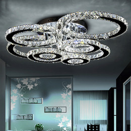 Candelabros para dormitorios online-Lustres techo de luz lampara techo colgante moderna de acero inoxidable LED Lámparas de luz de la lámpara de cristal de estar Dormitorio anillo de diamante LED