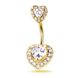 Anéis umbigo coração coração on-line-Moda Bling Bling Rhinestone Mulheres Bell Button Anel Gemstone Designer De Coração Navels Luxo Diamante Amor Navel Tempo Limitado