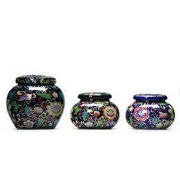 piccoli vasi di fiori smaltati Sconti Fiore colorato BlackPurple Glaze Ceramica in lattine portatile Viaggio sigillato Piccolo vaso Teiera Serbatoio Palace in polvere di stoccaggio regalo creativo