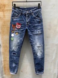 Projeto das calças de brim caligiado on-line-Mens Designer Calças Novo Estilo Casual Skinny Sweatpants Mens Designer rasgado jeans Mid-cintura Calças Marca Mens Jeans Collage Design