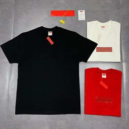 серая пара футболок Скидка Горячая 19SS Box Logo T X Swaroovski 25-летие Футболка Мужчины Женщины Пара Летняя Мода Повседневная Улица Футболка S-XL HFLSTX417