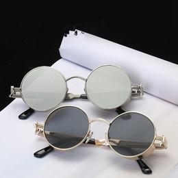 Gafas círculo metal online-Vintage Ronda gafas de Sol Polarizadas Retro Hombres Camping Steampunk Gafas Al Aire Libre Mujeres Pequeño Círculo de Metal de Conducción Gafas de Viaje TTA1137