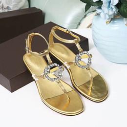Canada 2019, les dernières sandales de sandale classiques sont répertoriées dans le tissu de boucle de diamant étincelant avec du cuir de veau or importé 3 couleur 35-42 cheap color diamond bracelet Offre