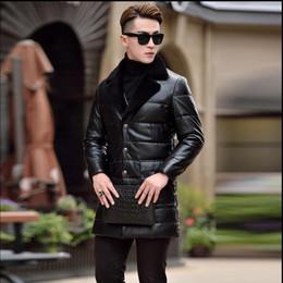 S-5XL Kış yeni Haining deri aşağı ceket erkek uzun bölüm İnce yün takım elbise yaka deri ceket gençlik ceket gelgit Büyük cheap winter suit jacket men leather nereden kış takım elbise ceket erkek deri tedarikçiler