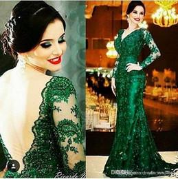 2019 arabo verde smeraldo sirena abito da sera economici scollo av sheer backless maniche lunghe madre abbigliamento formale partito abito su misura plus size da
