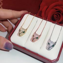 2019 borchie a forma di triangolo qualità collana s925 stampa leopardo monili popolari di modo del partito alta per la collana del leopardo delle donne di lusso della pantera di gioielli da sposa