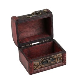 wooden case pattern Promo Codes - Hollow Pattern Vintage Red Wooden Jewelry Display Box Necklace Bracelet Rings Storage Organizer Storage Case Gift Box 2019