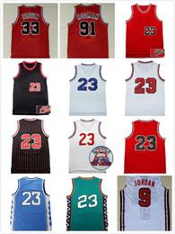 2019 melhores camisas de basquete # Dos homens de melhor qualidade 23 Michael jersey Pippen Rodman Red Black White costurado REV 30 jerseys Basquetebol frete grátis melhores camisas de basquete barato
