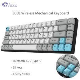 2019 tastiera originale del pc AKKO originale 3068 Wireless Keyboard meccanica 68 tasti Bluetooth 3.0 / Type-C Gaming Keyboard Cherry Interruttore per PC Computer sconti tastiera originale del pc