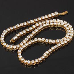 2020 cadenas de diamantes simulados Collar de cadena de hip-hop con diamantes simulados en tono dorado para hombre Collar de 1 fila de moda superior Bling Bling Collar cadenas de diamantes simulados baratos