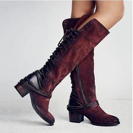 Ginocchio alto indietro pizzo stivali online-2020 Stivali Donne ginocchio Moda Lace-up Designer Leather Shoes Booties tacco alto in Australia Martin Stivali di Halloween e Chirstmas Gifts