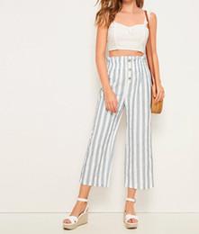 escritório casual calças mulheres Desconto Boho Stripe Loose Women Calças Long Hight Flared Office cintura calças casuais