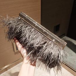 Penas de avestruz verde escuro on-line-Designer de verde escuro avestruz penas bolsas de diamante sacos de jantar banquete de casamento embreagens bolsa mujer noite sacos
