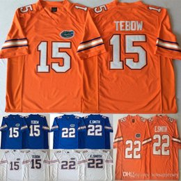 equipes de futebol da faculdade Desconto 15 Tim Tebow Jerseys 22 E. Smith Emmitt Smith NCAA College Florida Jacarés Equipa de Futebol Cor Azul Branco Laranja Jersey