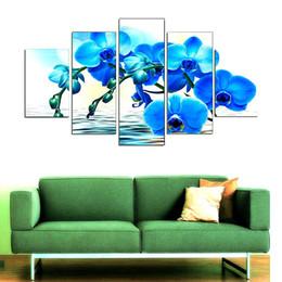 Orquídeas quadro on-line-Imagem da orquídea azul, 5 peças Home Decor HD impresso Modern Art pintura sobre tela (sem moldura / moldado)