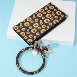 запястье Скидка 2 Стили Подсолнечное Leopard напечатаны Wristlet монет сцепления Кошелек с брелка Портативный кошелек сумка брелоков большой круг ремешок на запястье сумка M291Y