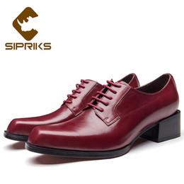 2019 mens di cuoio di scarpe sociali Sipriks Uomo Scarpe in vera pelle Tacco alto Borgogna Nero Scarpe in pelle casual 5 cm di altezza crescente Gents Suit Social mens di cuoio di scarpe sociali economici