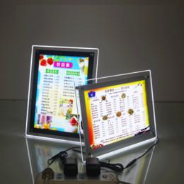 2019 stand debout ipad Cadres de photo en cristal, porte-affiches / boîte à lumière illuminés par LED, décoration à suspendre pour la publicité professionnelle (Transparent, A3 | A2 / A4 / A5)