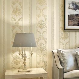schönheit stoff blau Rabatt Luxus Europäischen 3D Stereo Geschnitzte Vliestapete Wohnzimmer Schlafzimmer Wand Restaurant Vertikale Streifen Tapete