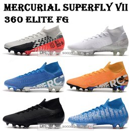 2019 футбол высоких топов Mens High Tops бутсы Nuovo белый пакет Mercurial Superfly VII 360 Elite FG футбольные бутсы Неймар ACC Superfly 7 CR7 Футбол Бутсы скидка футбол высоких топов