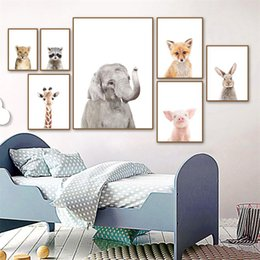 2019 pittura a muro di leopardo Cute Elephant Leopard Koala Wall Art Canvas Painting Nordic Posters and Prints Nursery Wall Pictures Kids Room Decor pittura a muro di leopardo economici