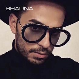 Blaue kristallgläser online-Shauna Luxus Kristall Falten Pilot Sonnenbrille Frauen Markendesigner Übergröße Klar Rosa Blau Gelb Sonnenbrille Männer MX190723