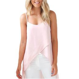 41ee025951 Summer Casual Long Chiffon Blouse Women Sleeveless Beach Shirt Irregular  Loose Blusas Solid Color Top