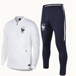 Gilet national en Ligne-1819 maillot de pied Français costume de formation de rougeur formation nationale de football français porter survêtement à manches longues veste de football pantalon