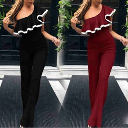 Combinaison de soirée noire en Ligne-Charme Femmes Long Pantalon Combinaison Soirée Robe De Soirée Élégant Une Épaule Flora Noir Bourgogne Occasion Informal Robes De Fête 2511