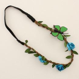 neujahr mädchen haarzusätze Rabatt Mode Blume Stirnband für schöne Mädchen New Years Floral Crown Crown Haarschmuck Party stilvolle Schmetterling