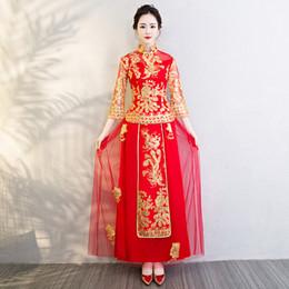 2019 abiti da sposa regina rossa Abito da sposa rosso Ricamo Abito tradizionale cinese Dragon Phoenix Abito da sposa cheongsam orientale da sera Vestido Cina Qipao