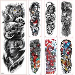 rose per tatuaggi Sconti Nuovo braccio tatuaggio adesivo scheletri e rose adesivi tatuaggio temporaneo trasferimento di acqua manica del tatuaggio body art per uomo donna