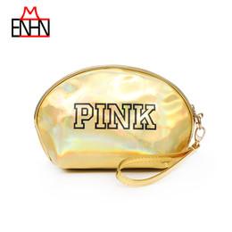 2019 saco de cosméticos de ouro pequeno ENHNM Carta de Moda Rosa PU Cosmetic Bag Make Up 2018 Nova Cor De Ouro Mini Saco De Armazenamento À Prova D 'Água PortátilGirls Simples Pequeno desconto saco de cosméticos de ouro pequeno