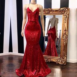 2019 vestido bling coral Bling lentejuelas rojas sirena vestidos de noche correas espaguetis sin espalda sexy 2019 por encargo más tamaño largos vestidos de fiesta cóctel vestido bling coral baratos