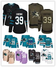haie eishockey Rabatt San Jose Sharks Trikots # 39 LOGAN COUTURE Trikot Eishockey Männer Frauen Jugend blau weiß schwarz blaugrün grün Drift Stiched Fanatics Trikots