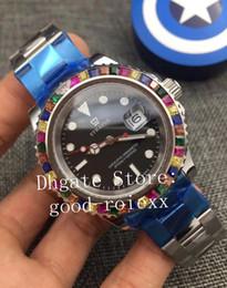 Cristalli di colore arcobaleno online-Luxury Mens Automatic 2813 Gem-Set Multi Color Rainbow Bezel Watches Men Bracciale in acciaio pieno Crystal 116695 Master Watch 116655 Orologi da polso