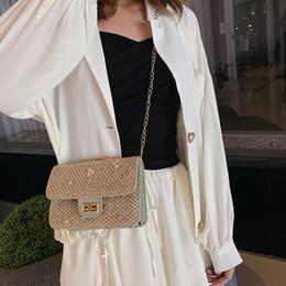 sacchetto di spalla fiorito Sconti Moda 2019 casuale donne di modo estate solido colore paglierino Catena Shoulder Bag Messenger Bag Semplice