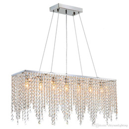 2019 lustre retangular sala de jantar luzes Modern Linear Lustre Crysal Iluminação Lustre Ilha Luminária Luminária para Sala de Jantar Sala de estar L32
