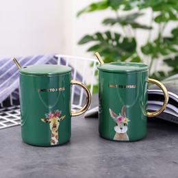 400ml Creativo in ceramica + acciaio inossidabile Tazze tazza caffè tazza da tè Bordo in oro verde Resistenza alle alte temperature 8x11,3 cm da resistenza all'oro fornitori