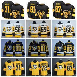 2019 Stadium Series Pittsburgh Penguins 71 Evgeni Malkin Jersey 87 Sidney  Crosby 58 Kris Letang Phil Kessel Jake Guentzel Black Yellow White 221f0a0d5
