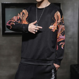 2019 sweatshirt chinesisch Chinesische Art Drache Sweatshirt Männer japanischen Street Harajuku Sweatshirts Männer Hip Hop-Mann-Sweatshirt 5XL Schwarz rabatt sweatshirt chinesisch
