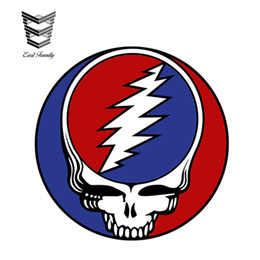 2019 insignia de deporte rojo Comercio al por mayor 20 unids / lote The Grateful Dead Skull Sticker Car Styling Race Van Bike Drift Vinyl Decal Car Accessories Decoración 12 cm x 12 cm