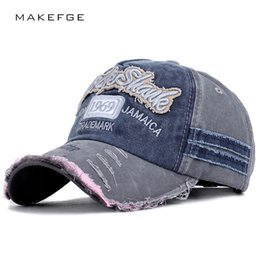 7c917f384ec 2019 Fashion Vintage Baseball Cap Letter Embroidery Casual Hat Broken Spring  Men Women Adjustable Washed Cotton Sport Outdoor