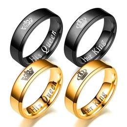 89e7ca8290 Hot-selling New Diagonal Crown Ring Her King His Queen Fashion Couple Ring  Black and Golden Color